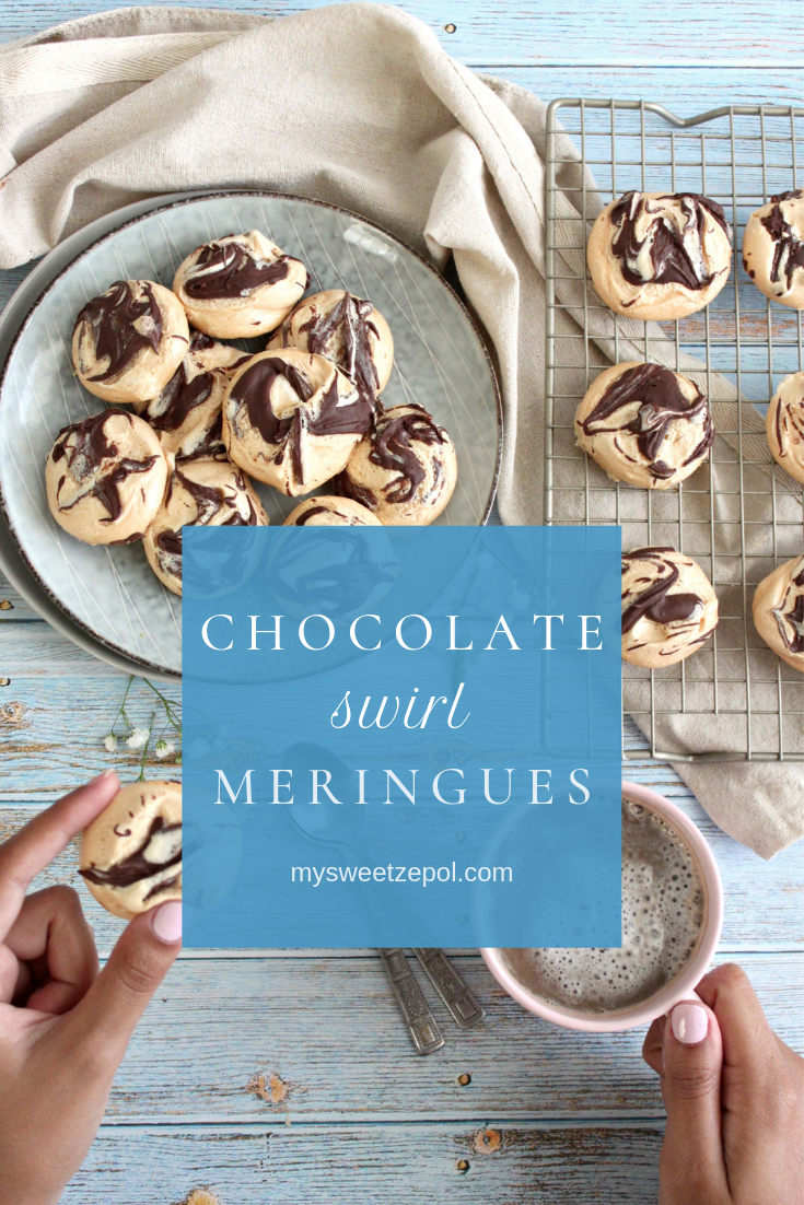 Elegant chocolate swirl meringues are sure to impress everyone and are deceptively easy to make. Swirl chocolate into your next batch of meringue cookies and you'll be reminded of s'mores without the crackers. Find more delicious recipes at mysweetzepol.com