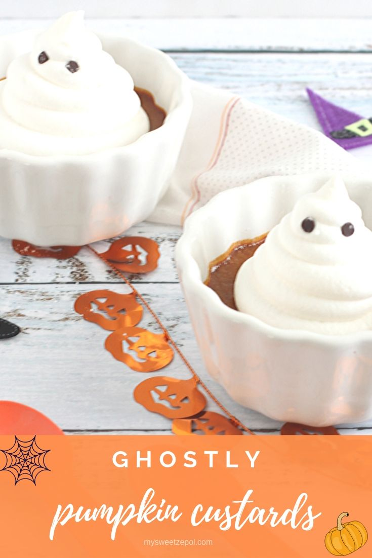 Not-so-spooky ghostly pumpkin custards appear for dessert and don't last long. These ghosts will be gobbled up in no time! Everyone will want seconds! Grab more recipes at mysweetzepol.com #HalloweenTreatsWeek
