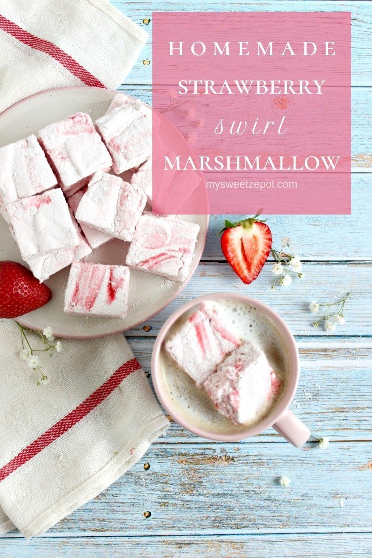 Did you know how easy is to make homemade marshmallow? Homemade strawberry swirl marshmallow are one of my favorite summer desserts! The gorgeous pink homemade strawberry marshmallow are surprisingly easy to make and perfect for s'mores too! Find more recipes at mysweetzepol.com