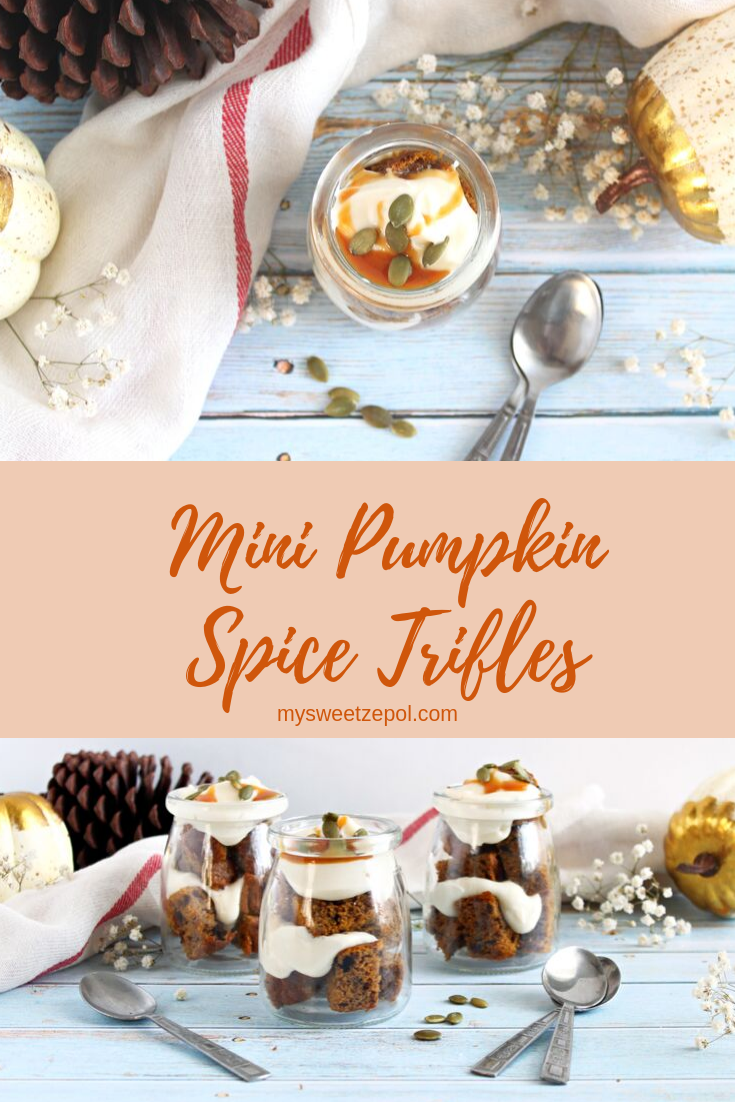 These miniature trifles are so much fun to make! Fall in every bite makes any gathering or afternoon a true treat. Mini Pumpkin Spice Trifles for the win! Grab more delicious pumpkin recipes at mysweetzepol.com