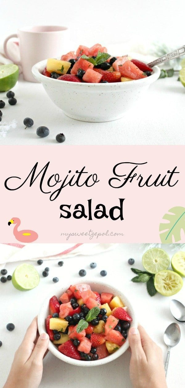 Mojito fruit salad is a refreshing salad. Perfect to welcome warmer weather with and enjoy with friends. Find out how to make this mojito-inspired fruit salad today at mysweetepol.com