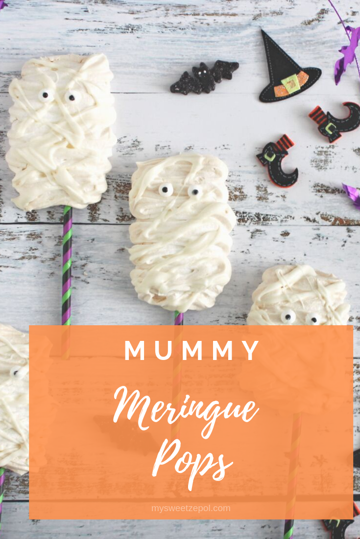Nothing says Halloween like mummies and we got some delicious ones for you, they melt in your mouth. Have you seen cuter Mummy Meringue Pops? Grab more Halloween recipes at mysweetzepol.com