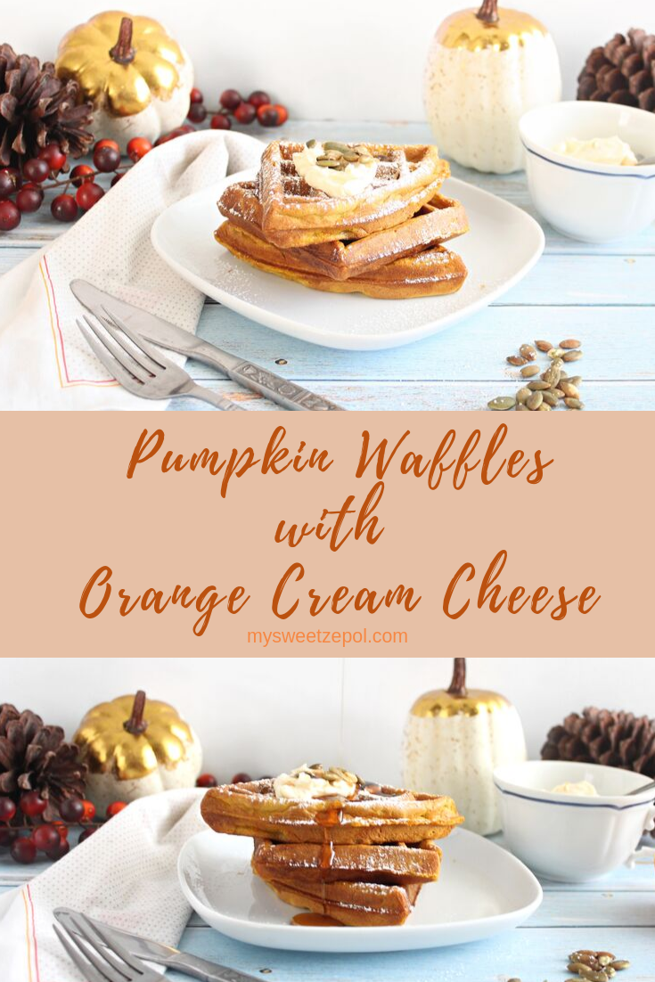 Pumpkin waffles with orange cream cheese have Fall written all over them! They are crunchy, creamy, and are perfect with a drizzle of maple syrup. Top them with homemade orange cream cheese and you'll be in cloud-nine! Super easy to make recipe and perfect for any gathering. Entertaining made easy! Grab the recipe and many more at mysweetzepol.com #PumpkinWeek