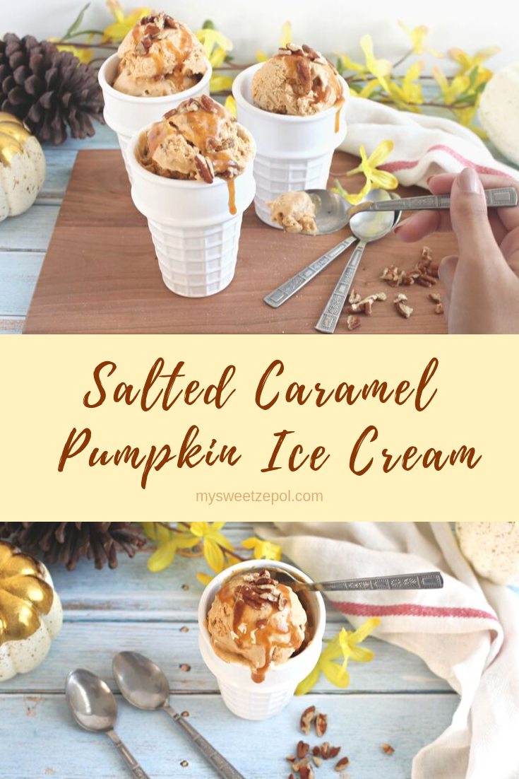 Everyone loves a pumpkin-flavored cheesecake, so we decided to make a cool and creamy salted caramel pumpkin ice cream. We're thrilled with the results. Grab many more delicious recipes at mysweetzepol.com #PumpkinWeek