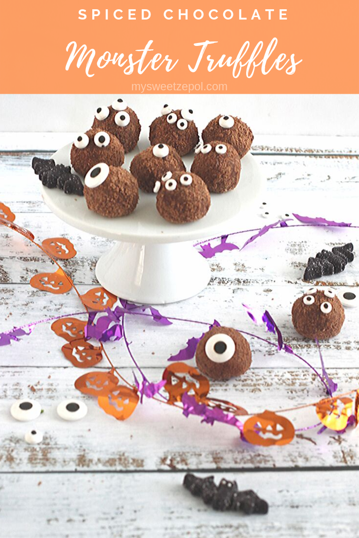 Spiced Chocolate Monster Truffles are loved by grownups and kids alike. Easy to make and better to eat! Make a batch and let them melt in your mouth. Grab more recipes at mysweetzepol.com #HalloweenTreatsWeek