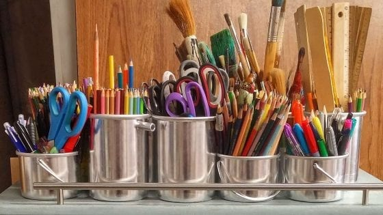 Thanksgiving Craft Ideas for Teenagers, paint brushes, coloring pencils, scissors, rulers, and more craft tools