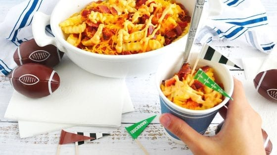 game day snack recipe - Cheesy Bacon Loaded Fries individually served in Dixie go cups