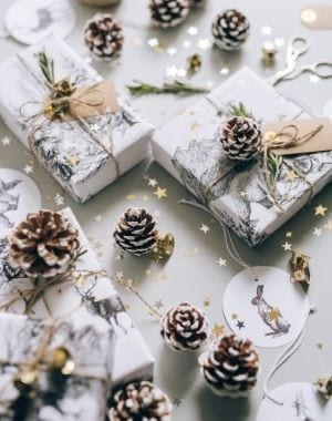 Christmas gift wrapping ideas, and supplies