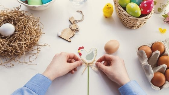 Easter eggs decorating with kids, crafts, chickens and ribbons