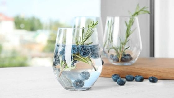 glass of water with fresh blueberries and rosemary twigs