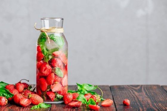 Detoxifying Waters with Strawberries Fresh Fruits