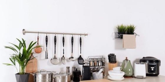 kitchen utensils, spoons, spatula, pans, whisk, kitchen pots, house plant