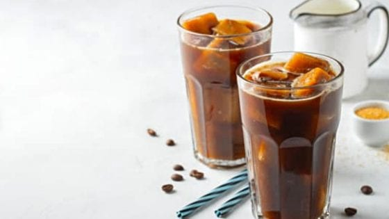 Cold brew coffee made at home with a French press