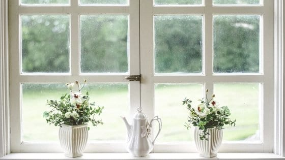 small white flower vases in a window with flowers and a coffee pot or tea kettle in the center