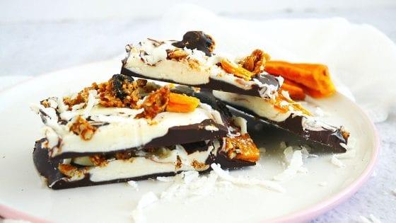 dried mango, dried blueberry, dried coconut, granola, milk chocolate, white chocolate, chocolate bark