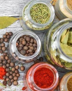 dry herbs, dried herbs, seasoning, in glass jars, seed, dried leaves and powder