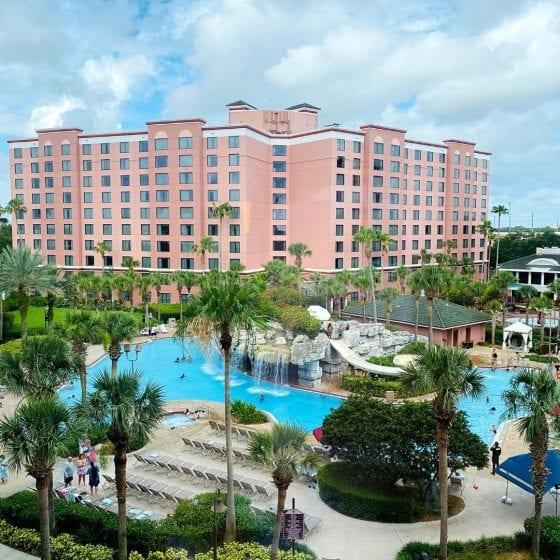 Caribe Royale in Orlando pool area, waterfall, waterslide, palm trees